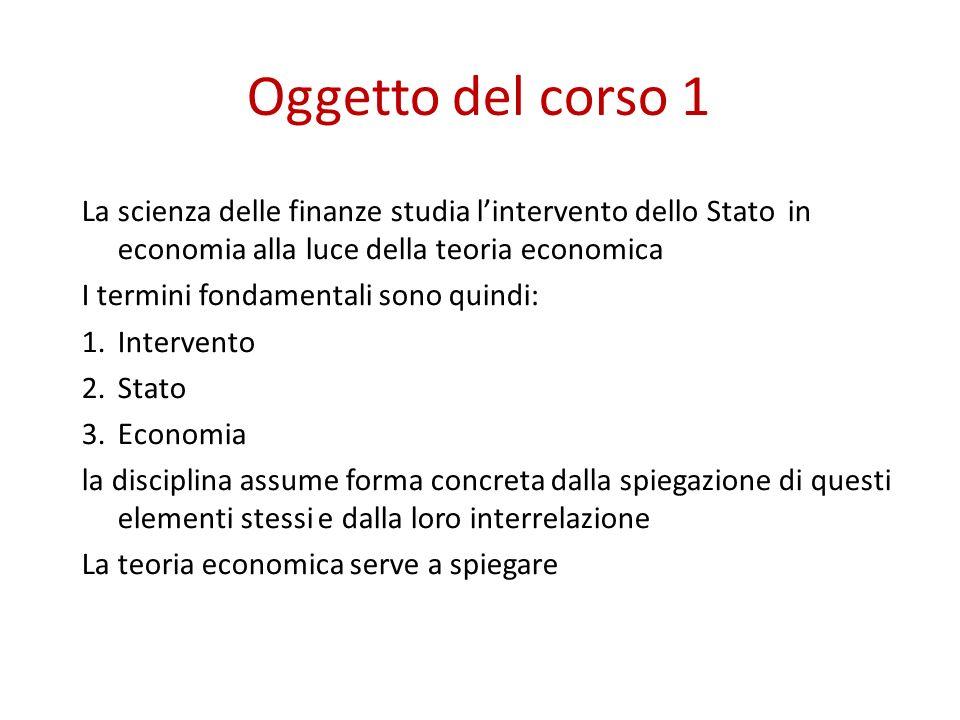 Oggetto del corso 1 La scienza delle finanze studia l'intervento dello Stato in economia alla luce della teoria economica.