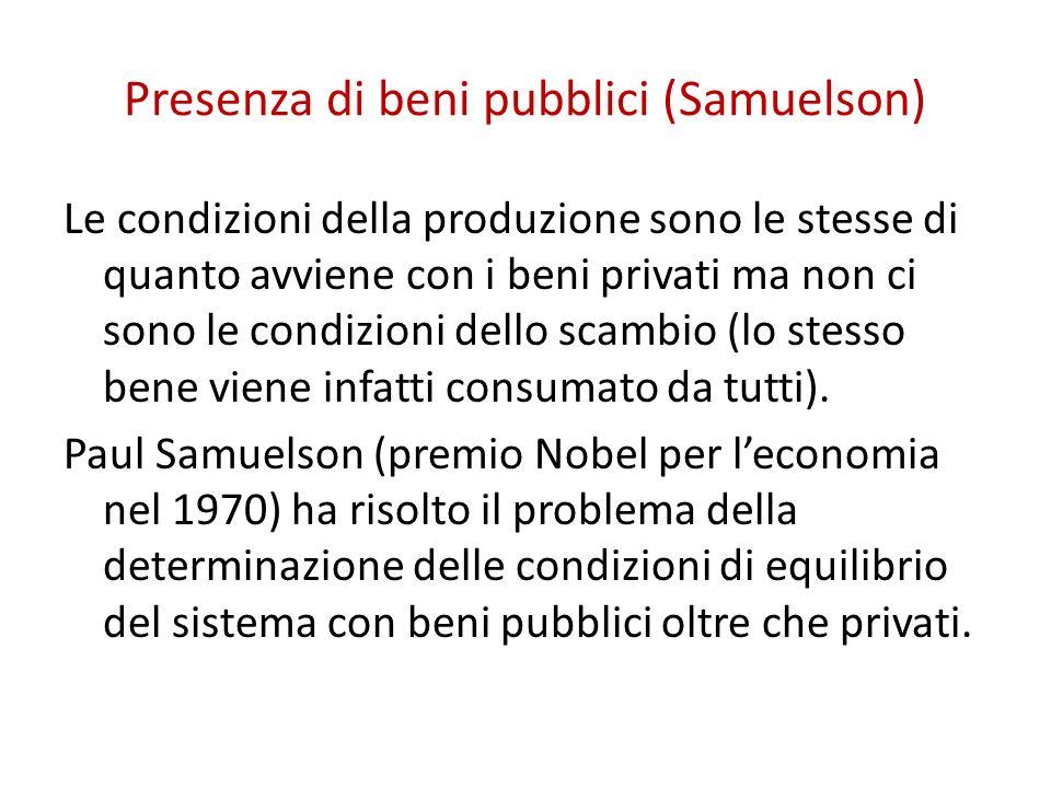 Presenza di beni pubblici (Samuelson)