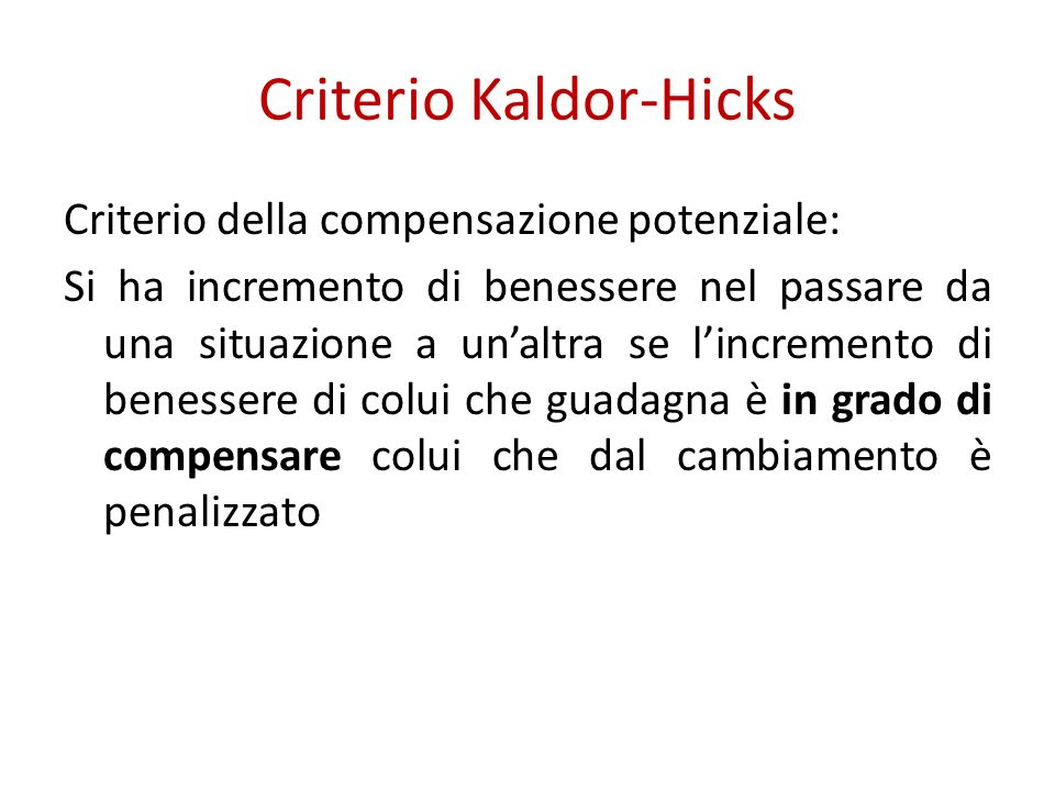 Criterio Kaldor-Hicks