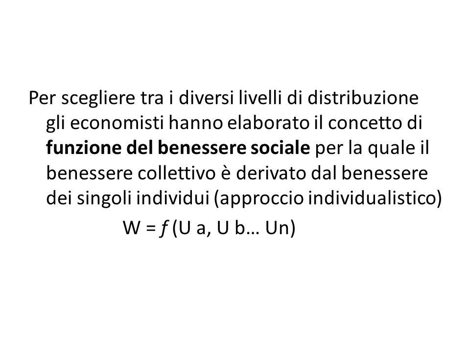 Per scegliere tra i diversi livelli di distribuzione gli economisti hanno elaborato il concetto di funzione del benessere sociale per la quale il benessere collettivo è derivato dal benessere dei singoli individui (approccio individualistico)