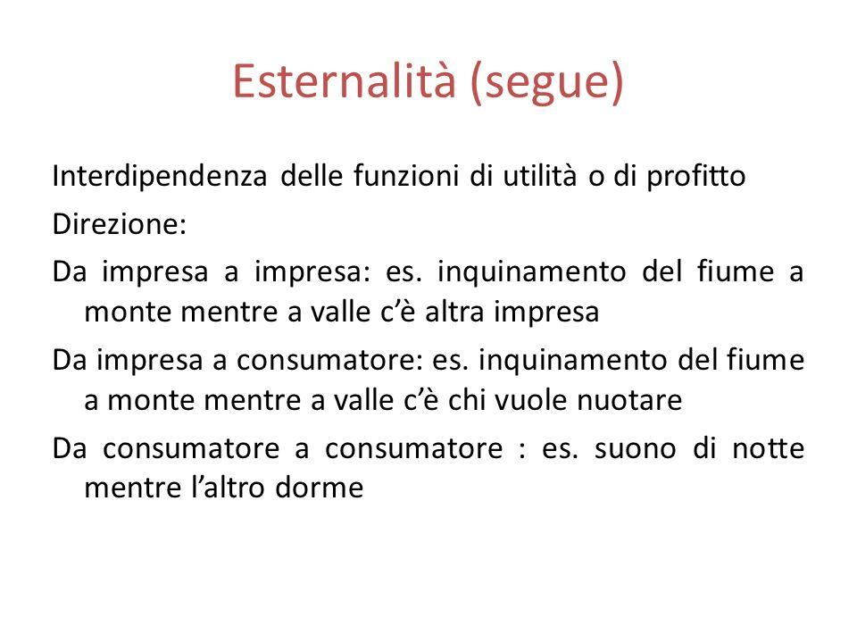 Esternalità (segue) Interdipendenza delle funzioni di utilità o di profitto. Direzione: