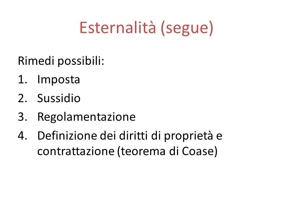 Esternalità (segue) Rimedi possibili: Imposta Sussidio