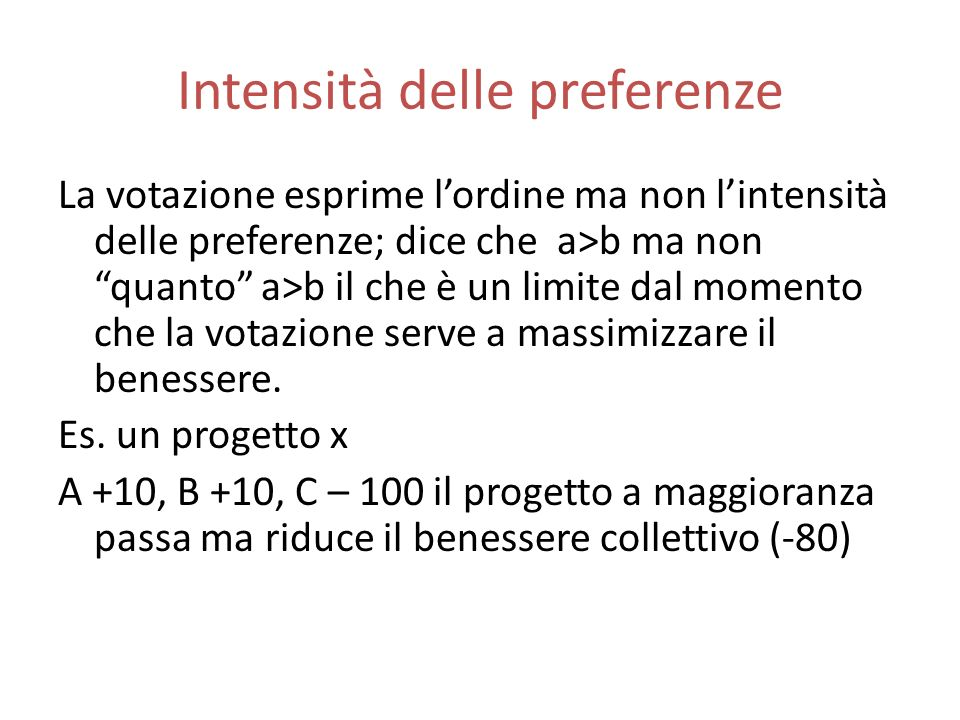 Intensità delle preferenze
