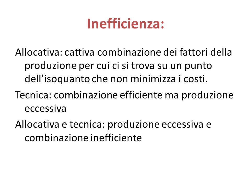 Inefficienza: Allocativa: cattiva combinazione dei fattori della produzione per cui ci si trova su un punto dell'isoquanto che non minimizza i costi.