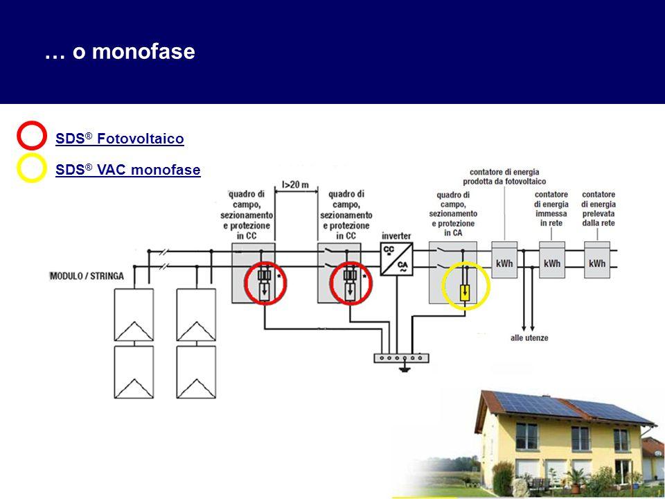 … o monofase SDS® Fotovoltaico SDS® VAC monofase