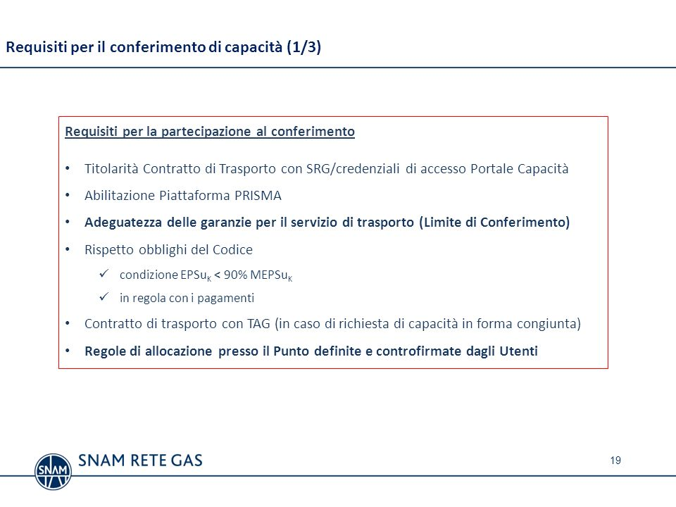 Requisiti per il conferimento di capacità (1/3)