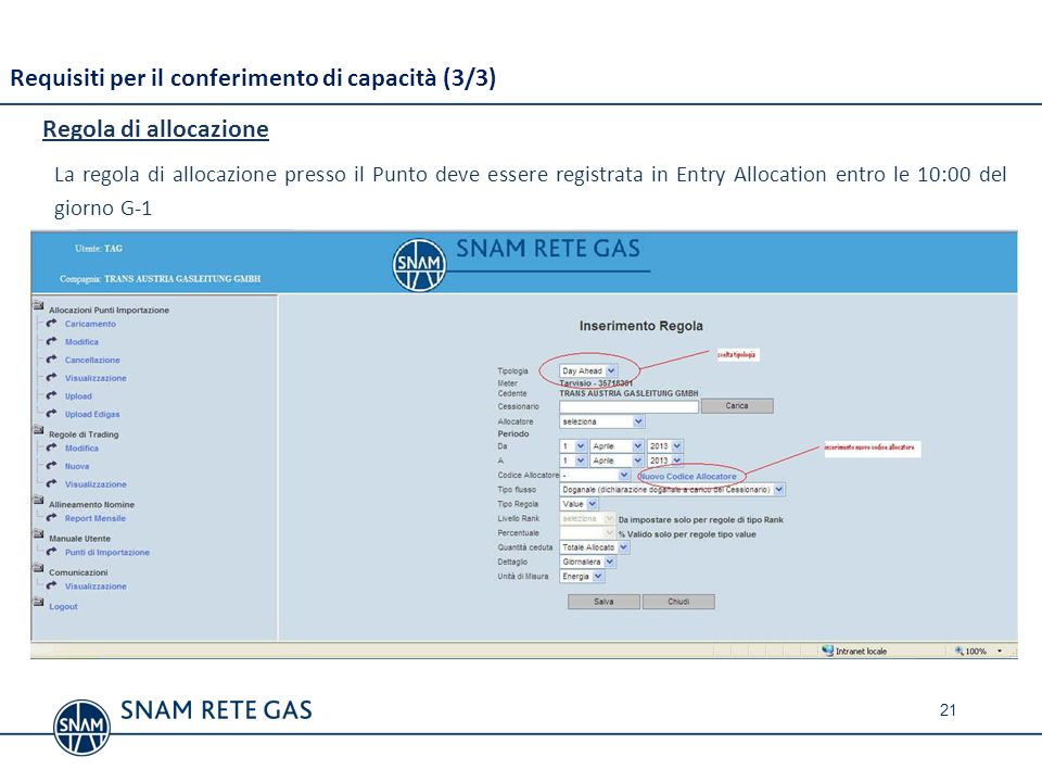 Requisiti per il conferimento di capacità (3/3) Regola di allocazione