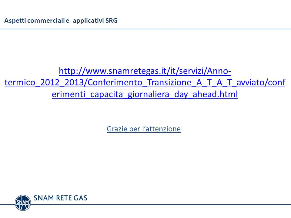 Aspetti commerciali e applicativi SRG