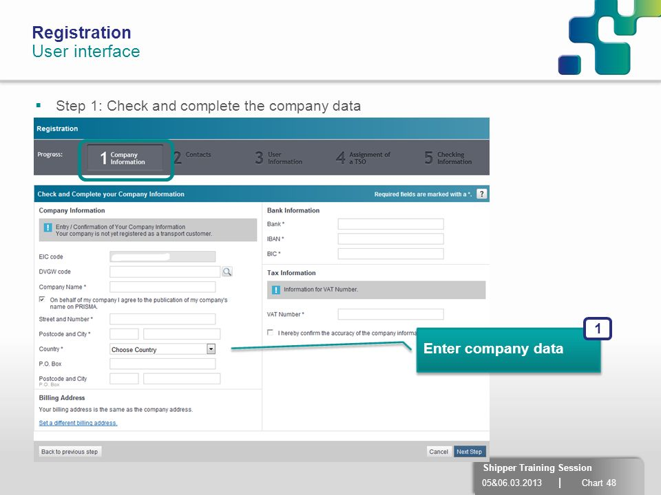 Registration User interface