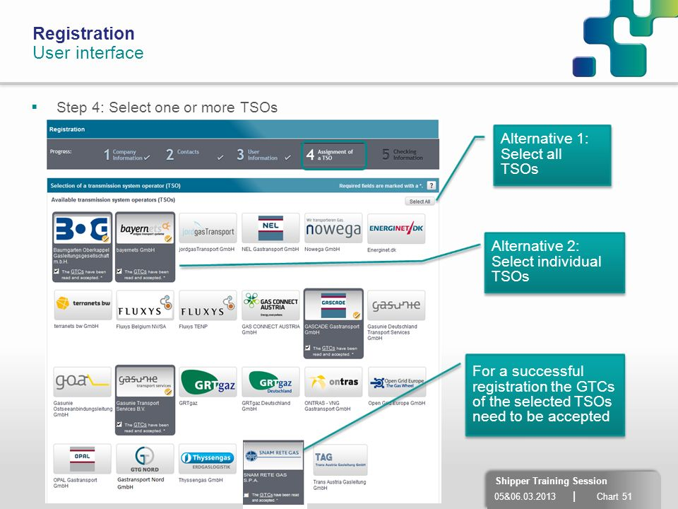 Registration User interface Step 4: Select one or more TSOs