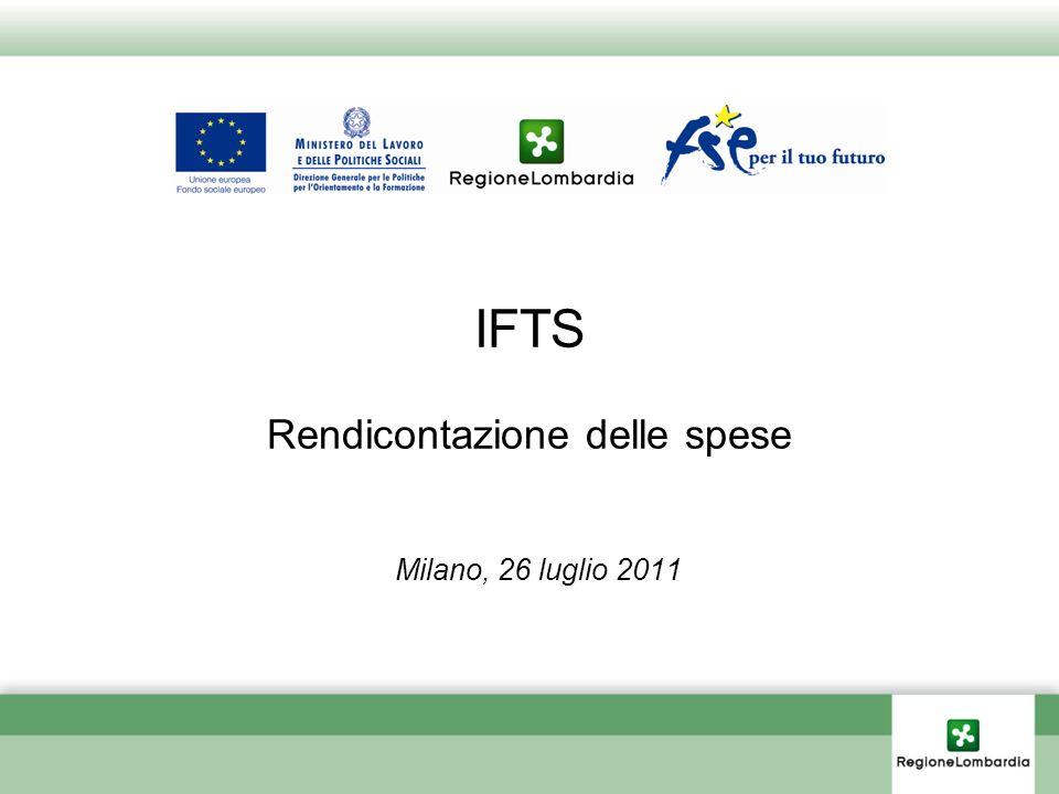 IFTS Rendicontazione delle spese