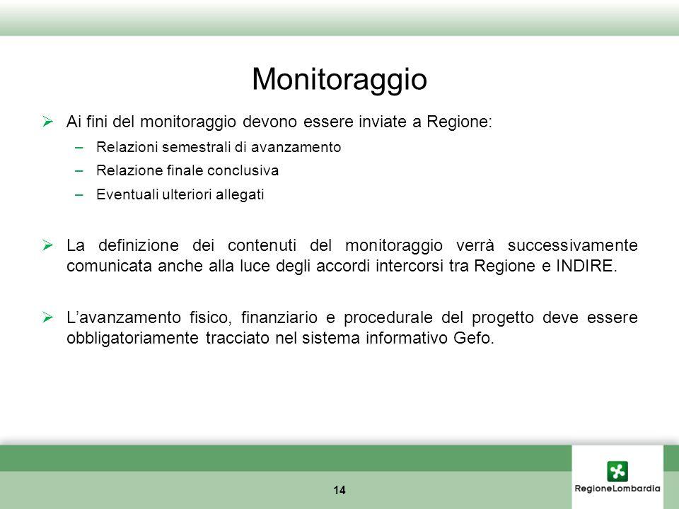 Monitoraggio Ai fini del monitoraggio devono essere inviate a Regione: