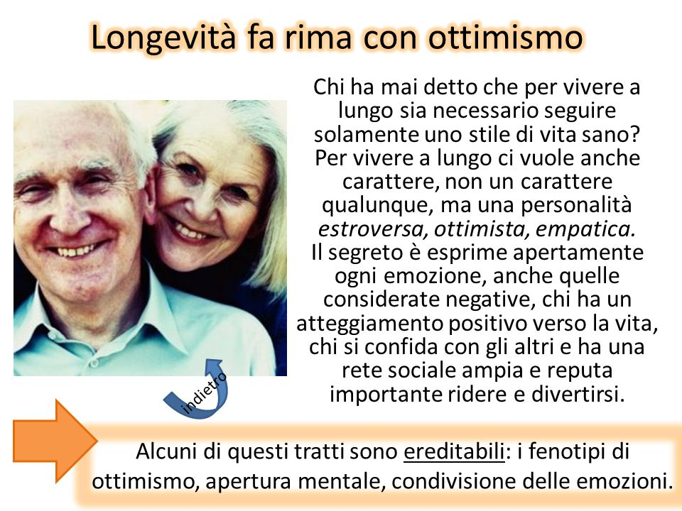Longevità fa rima con ottimismo