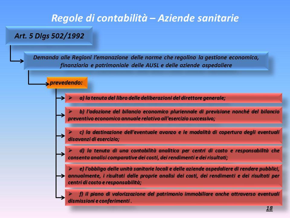Regole di contabilità – Aziende sanitarie