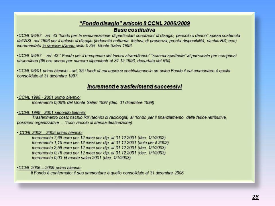 Fondo disagio articolo 8 CCNL 2006/2009 Base costitutiva