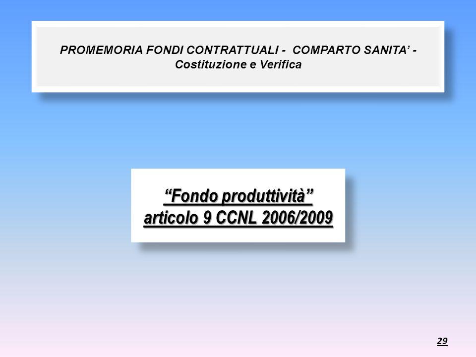 Fondo produttività articolo 9 CCNL 2006/2009