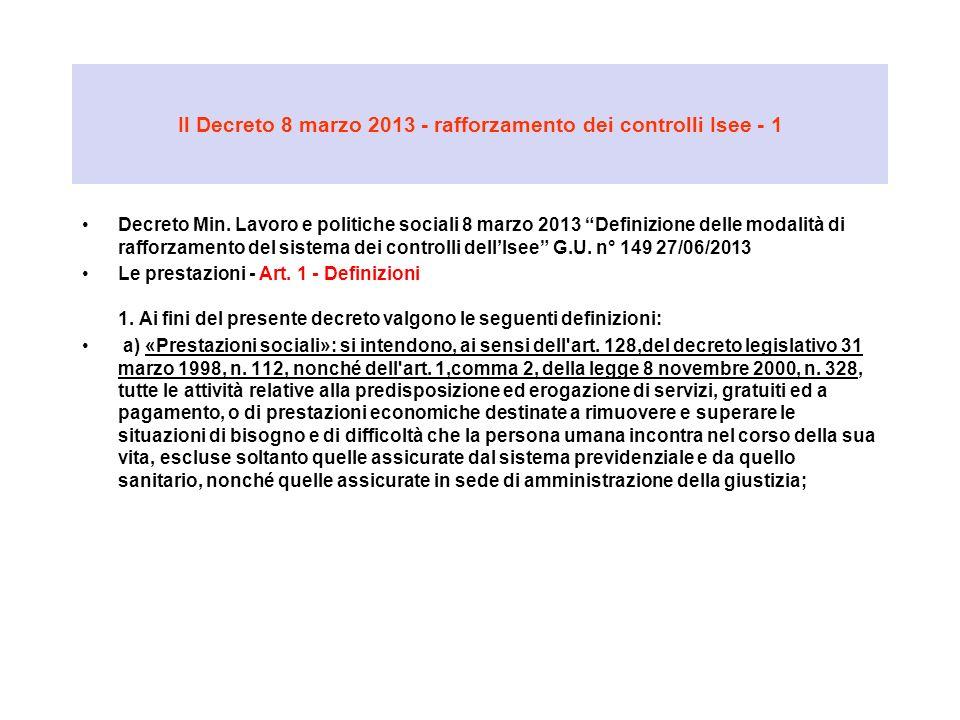 Il Decreto 8 marzo 2013 - rafforzamento dei controlli Isee - 1