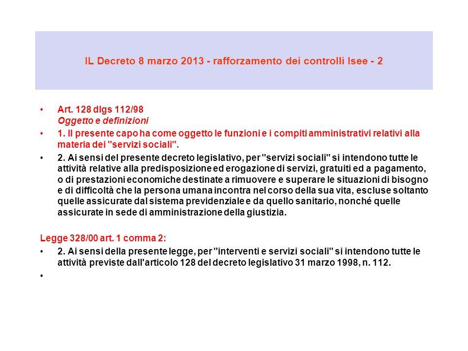 IL Decreto 8 marzo 2013 - rafforzamento dei controlli Isee - 2