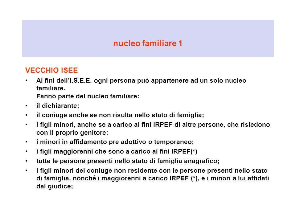 nucleo familiare 1 VECCHIO ISEE