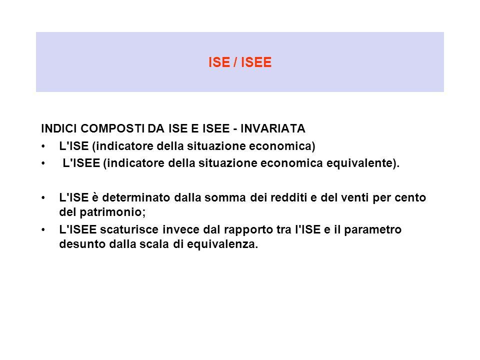 ISE / ISEE INDICI COMPOSTI DA ISE E ISEE - INVARIATA