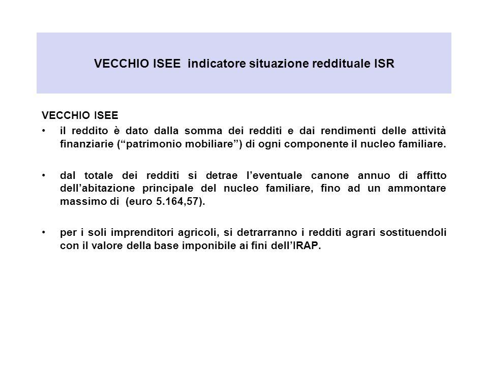 VECCHIO ISEE indicatore situazione reddituale ISR