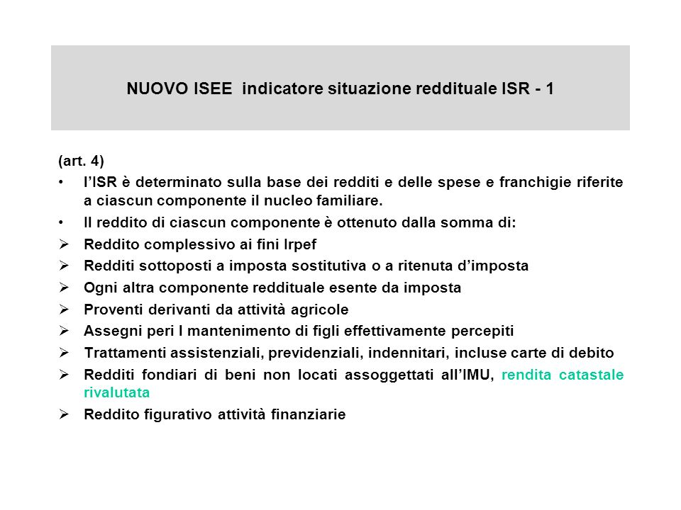 NUOVO ISEE indicatore situazione reddituale ISR - 1