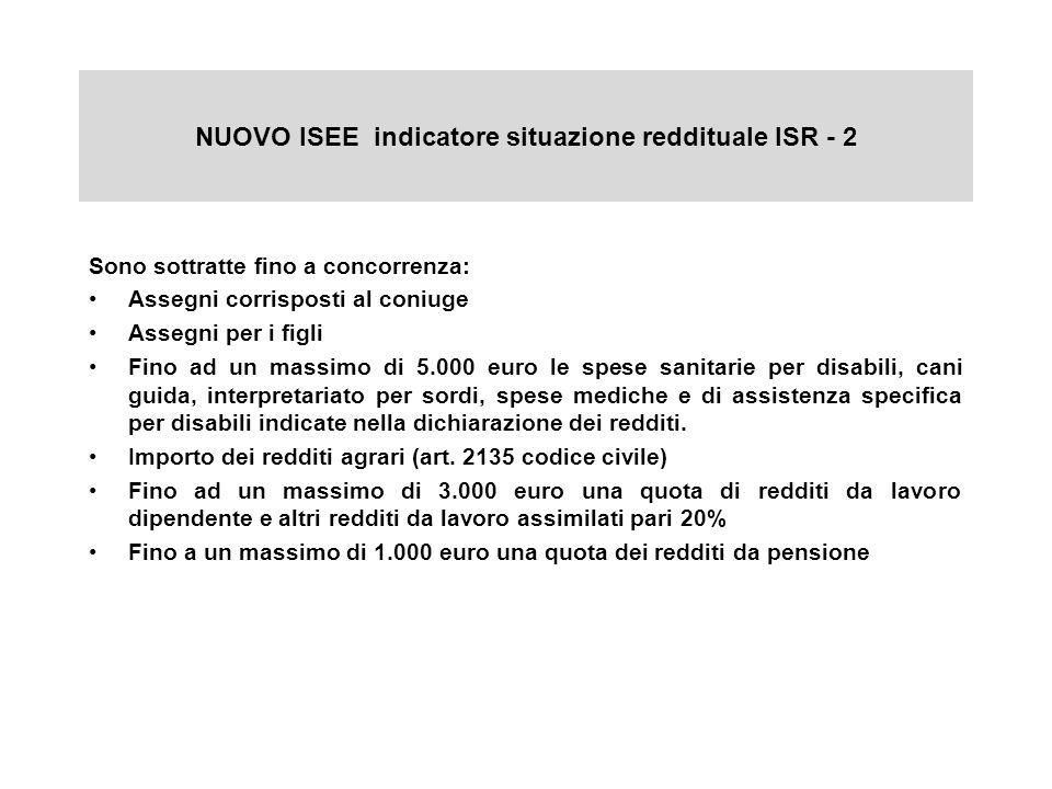 NUOVO ISEE indicatore situazione reddituale ISR - 2