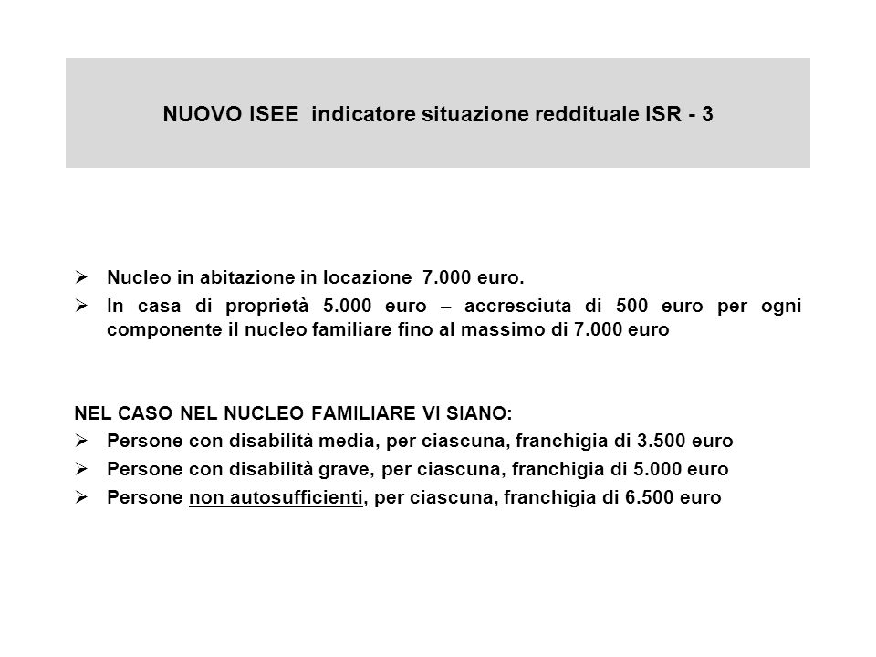 NUOVO ISEE indicatore situazione reddituale ISR - 3