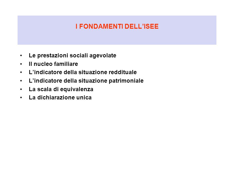 I FONDAMENTI DELL'ISEE