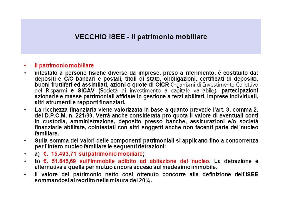 VECCHIO ISEE - il patrimonio mobiliare