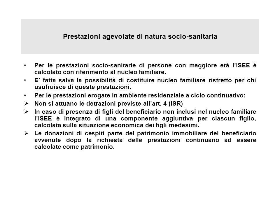 Prestazioni agevolate di natura socio-sanitaria