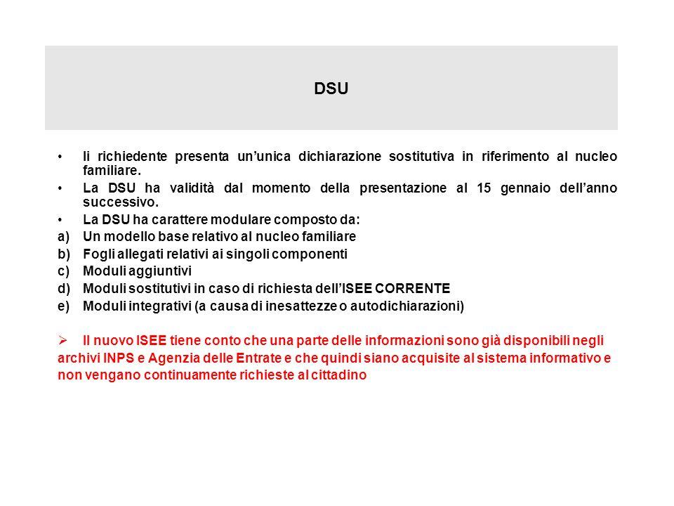DSU Ii richiedente presenta un'unica dichiarazione sostitutiva in riferimento al nucleo familiare.
