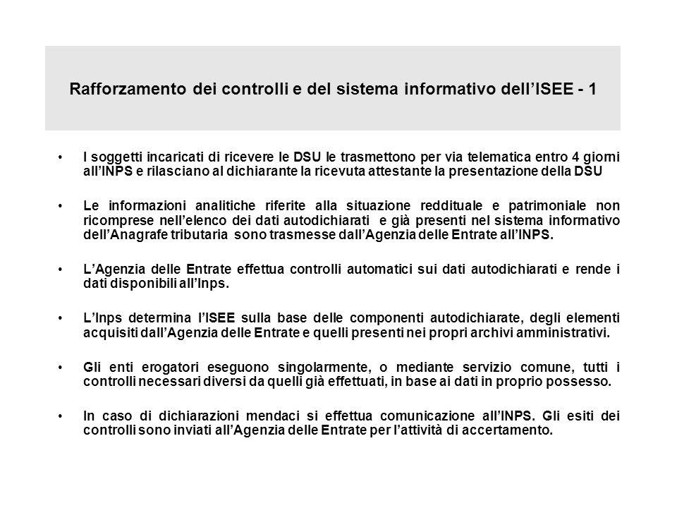 Rafforzamento dei controlli e del sistema informativo dell'ISEE - 1