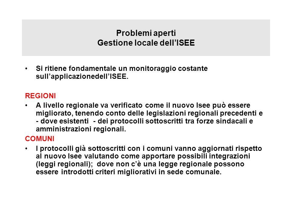 Problemi aperti Gestione locale dell'ISEE