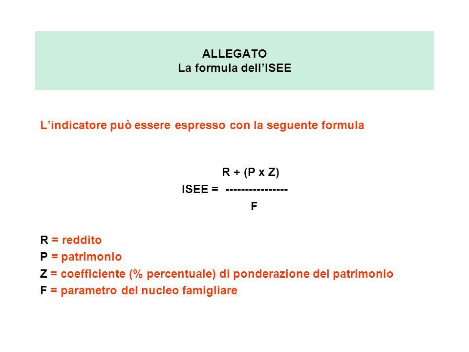 ALLEGATO La formula dell'ISEE