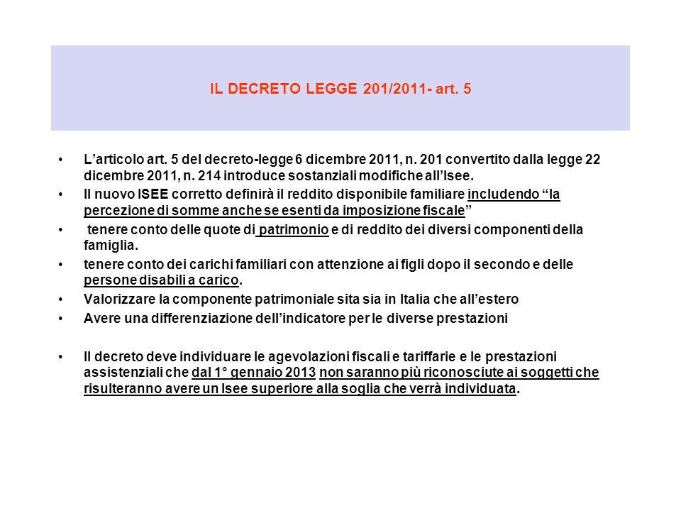 IL DECRETO LEGGE 201/2011- art. 5
