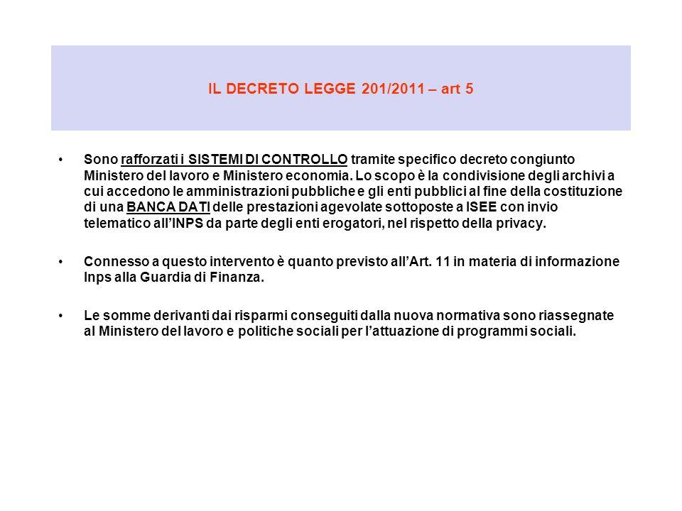 IL DECRETO LEGGE 201/2011 – art 5