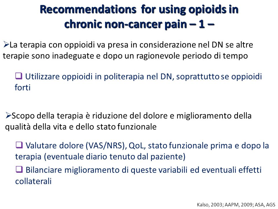 Recommendations for using opioids in chronic non-cancer pain – 1 –