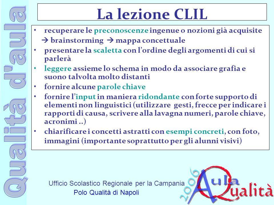 La lezione CLIL recuperare le preconoscenze ingenue o nozioni già acquisite.  brainstorming  mappa concettuale.