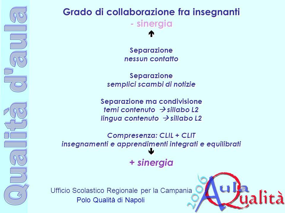 Grado di collaborazione fra insegnanti - sinergia