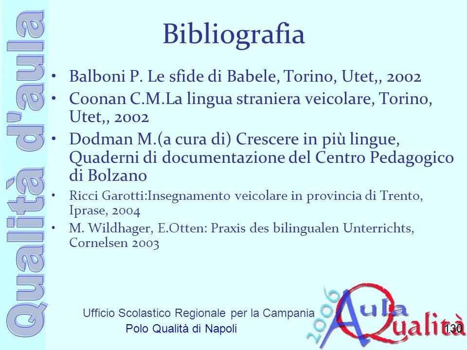 Bibliografia Balboni P. Le sfide di Babele, Torino, Utet,, 2002