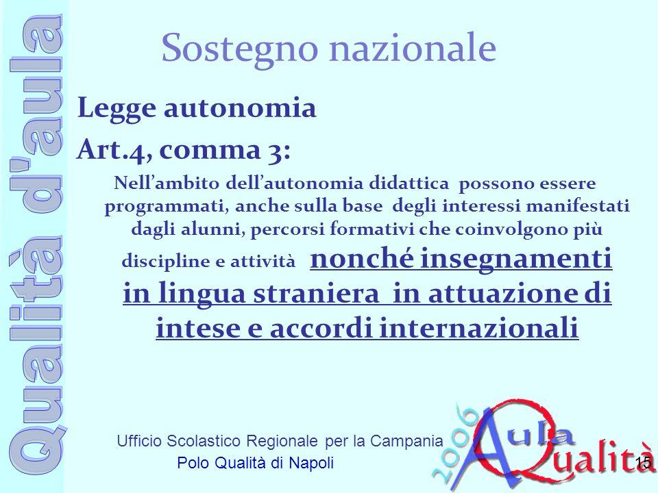 Sostegno nazionale Legge autonomia Art.4, comma 3: