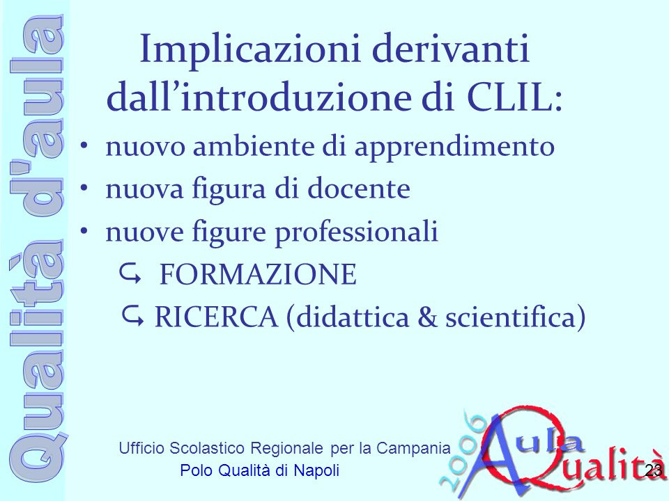 Implicazioni derivanti dall'introduzione di CLIL: