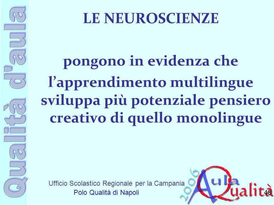 LE NEUROSCIENZE pongono in evidenza che l'apprendimento multilingue sviluppa più potenziale pensiero creativo di quello monolingue