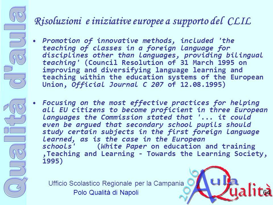 Risoluzioni e iniziative europee a supporto del CLIL