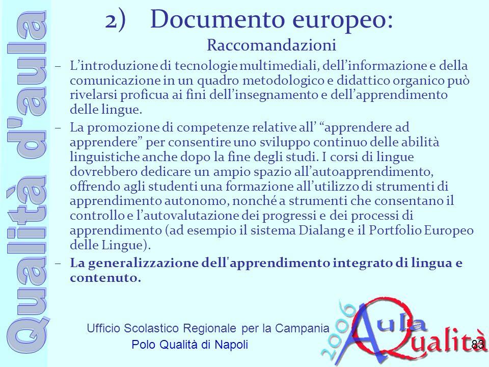 Documento europeo: Raccomandazioni