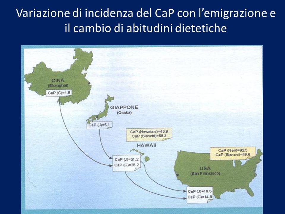 Variazione di incidenza del CaP con l'emigrazione e il cambio di abitudini dietetiche