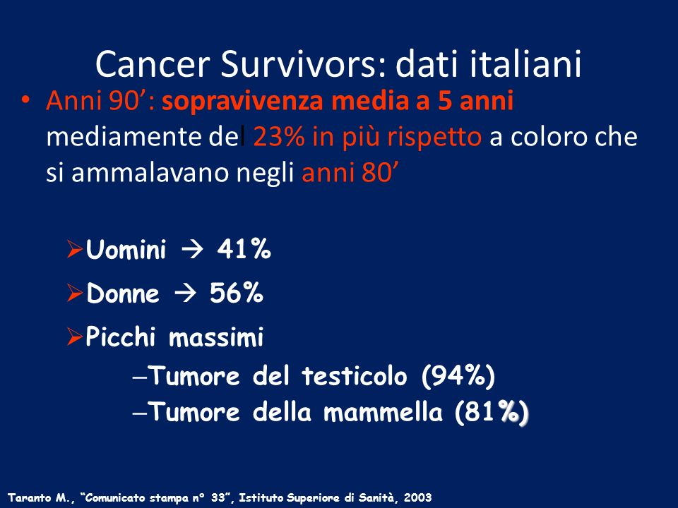 Cancer Survivors: dati italiani