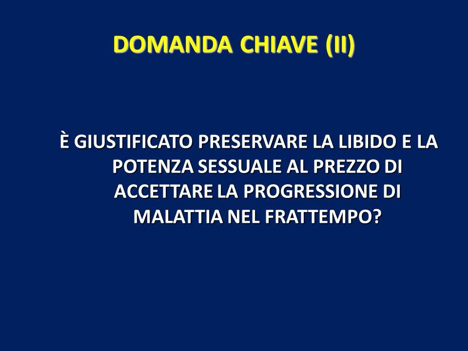 DOMANDA CHIAVE (II) È GIUSTIFICATO PRESERVARE LA LIBIDO E LA POTENZA SESSUALE AL PREZZO DI ACCETTARE LA PROGRESSIONE DI MALATTIA NEL FRATTEMPO