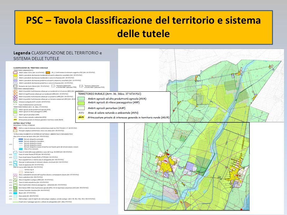 PSC – Tavola Classificazione del territorio e sistema delle tutele